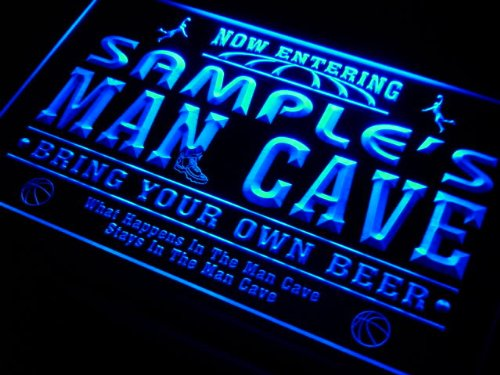 qc1078-g Wood's Man Cave Basketball Neon Beer Sign