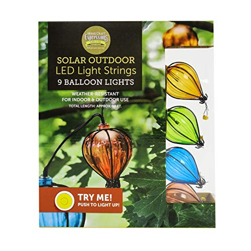 Home Craft Expressions Decor Solar Balloon Light String 9 LED -