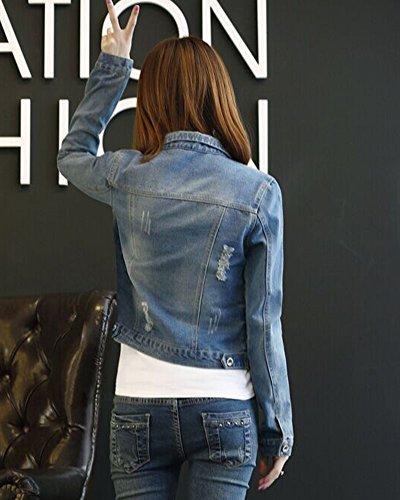 La Corto Slim Mujer Imagen Chaqueta Fit Cazadora Como Parches Vaquera Denim Casual 6wq7Cgw