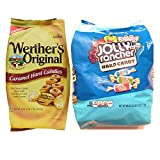 Deluxe Wrapped Hard Candies Bundle Featuring a Bag of Werthers Original Hard candy Plus a Bag of Blue Jolly Rogers Bulk Hard Candy