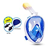 Full Face Snorkel Mask 180° with Adjustable Head Straps Anti-fog, Anti Leak Snorkeling Tube with Camera Mount, Swimming Cap and Ear Plugs, Wider Viewing Area (Blue Large)