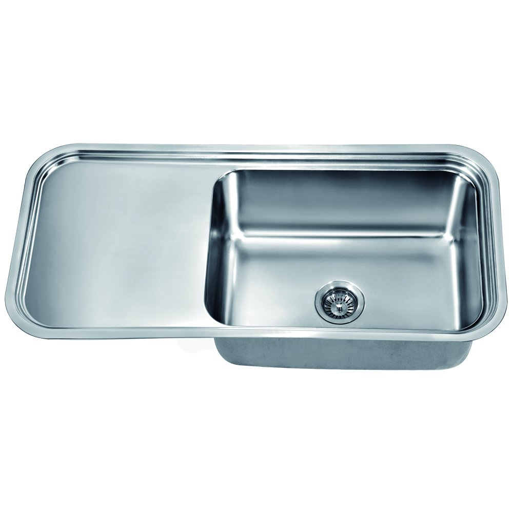 Dawn DSU4120 Undermount Single Bowl with Work Surface, Polished Satin