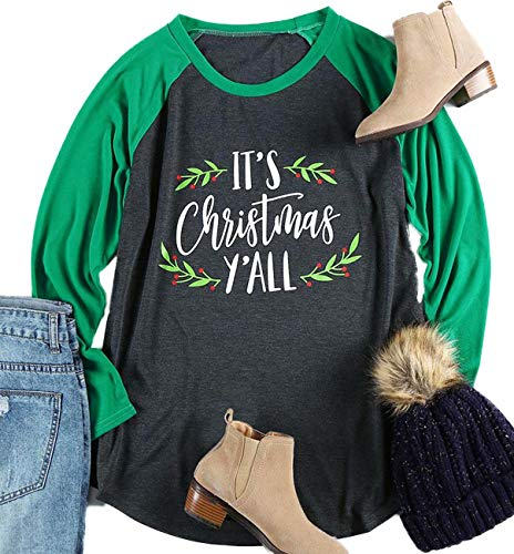 FAYALEQ Plus Size It's Christmas Y'all Baseball T-Shirt Women 3/4 Sleeve Raglan Holiday Tops Size 3XL (Green)