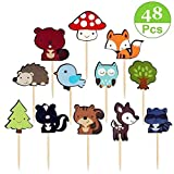 48-Pack Cute Woodland Creatures Cupcake Toppers Picks,Jungle Animal Friends Cake Toppers,Baby Shower Kids Birthday Party Cupcake Decoration Supplies