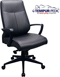 Tempur-Pedic by Raynor TP300 300 Leather High-Back Chair, Black Leather Seat/Back