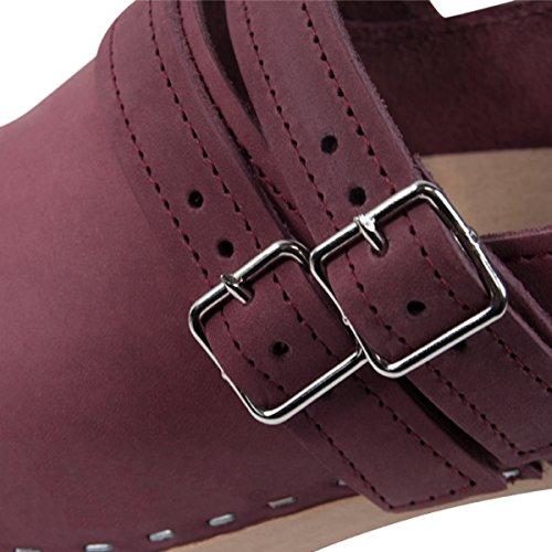 Sandgrens Swedish High Heel Wooden Clogs For Women   Naples Berry xw53wm
