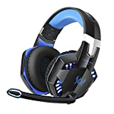 Stereo Bass Surround Gaming Headset for PS4 Xbox One, Homgrace Over Ear Gaming Headphones with Mic, Noise Reduction, LED Lights and Volume Control for Laptop, PC, Mac, iPad, Smartphones Blue