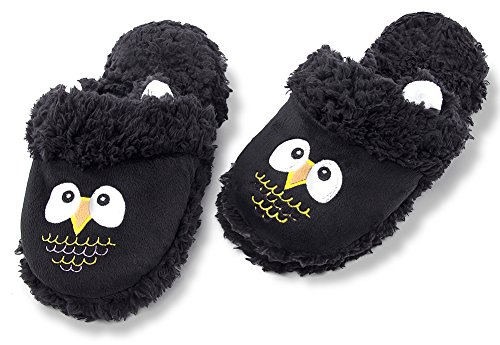 Indoor Ladies Memory Cute Animal Fuzzy Slippers Foam Womens Slip MaaMgic Black On Winter Slippers Bedroom With wA7qv0zR