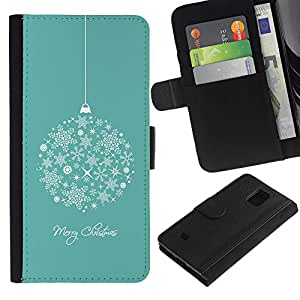 Billetera de Cuero Caso Titular de la tarjeta Carcasa Funda para Samsung Galaxy S5 Mini, SM-G800, NOT S5 REGULAR! / Merry Christmas Holidays Winter / STRONG