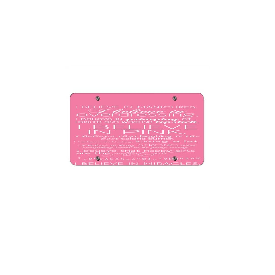 I Belive in Manicures Pink   Car Tag License Plate  Sports Fan Automotive Accessories  Sports & Outdoors