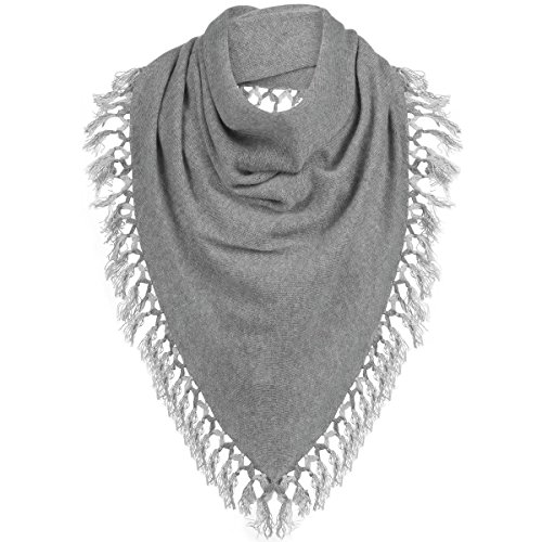White + Warren Tassel Triangle Scarf - Women's Grey/Silver, One Size by White + Warren