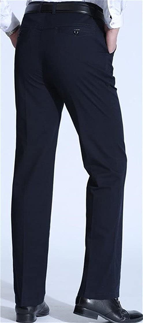 Macondoo Mens Straight Leg Flat Front Work Dress Pants Trousers