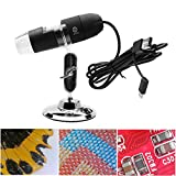Microscope 8 LED USB 2.0 Digital Microscope, 1000x Magnification Endoscope Mini Camera with OTG Adapter and Metal Stand(Black)