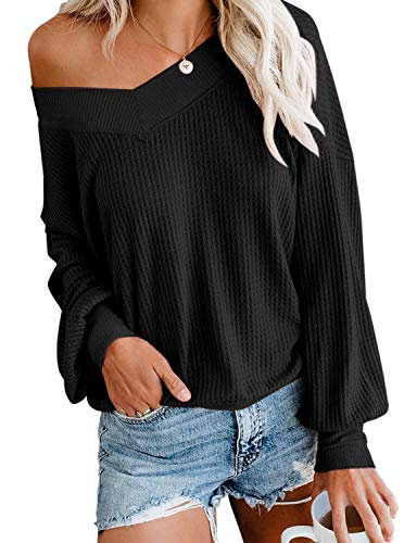 Women's Casual V Neck Long Sleeve Waffle Knit Off Shoulder Top Loose Pullover Sweater Black XX-Large