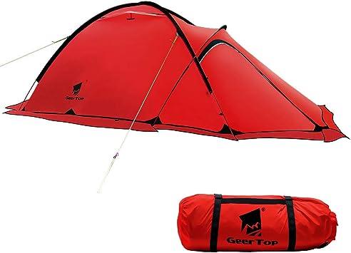GEERTOP® Alpinismo Tienda de Campaña Impermeable Ultra Ligera 4 Estaciones 2 Personas - 120 x 210 x 100 cm - UV Resistente - para Acampar Excursionismo y Turismo (Rojo): Amazon.es: Deportes y aire libre