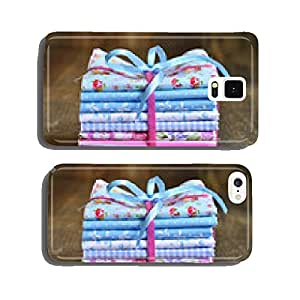 Pile of colorful folded textile. cell phone cover case iPhone6 Plus