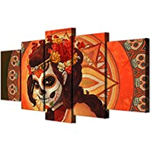 HD Printed Day of the Dead Face Group Painting on Canvas All Saints Day Halloween Pictures Extra Large Wall Art for Living Room Modern Home Decor Gallery-wrapped Art 5 Panel Set Framed(60''Wx40''H)