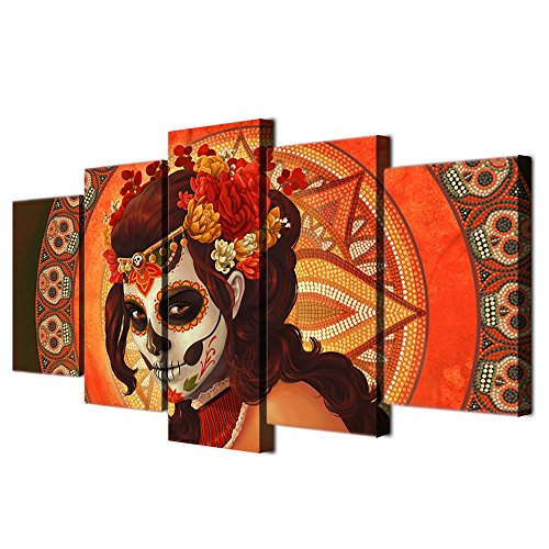 HD Printed Day of the Dead Face Group Painting on Canvas All Saints Day Halloween Image