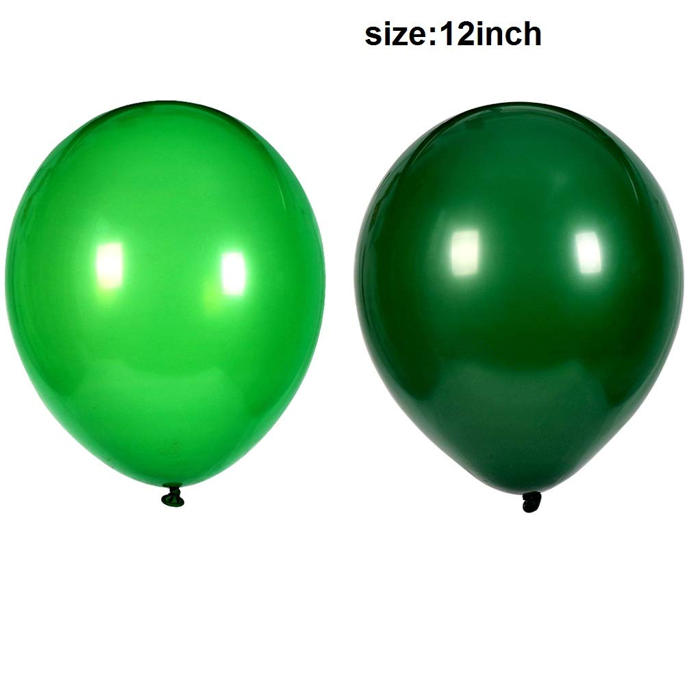 100Pack Green Balloons, 12Inch Green Latex Balloons Premium Helium Quality Dark Green Balloons Light Greeen Balloons for Party Supplies and Decorations(with Green Ribbon) by Y wang (Image #5)