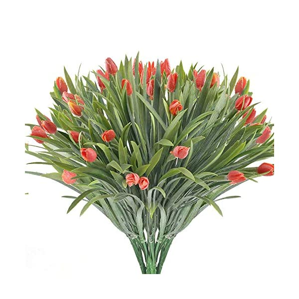 MHMJON 4pcs Artificial Flowers Fake Tulip Faux Greenery Shrubs Flower Arrangenment Wedding Bouquet Home Kitchen Hotel Table Decoration (Red)