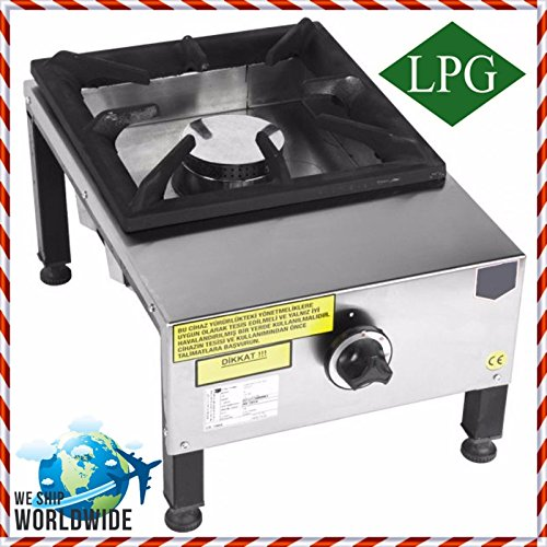 PROPANE GAS Commercial Kitchen Equipment Heavy Duty cooktop Multipurpose Hot Plate Range Stock Pot Stove 1 Burner Cast iron Hotplate Cooker Rangetop Stainless Steel Body CE CERTIFIED ()