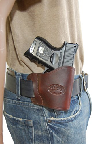 Barsony New Burgundy Leather Yaqui Style Gun OWB Holster for Compact Sub-Compact 9mm 40 45