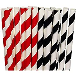 200 Count Biodegradable Paper Straws,Box Package,Red and Black