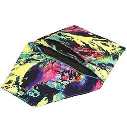 BMC Womens Faux Leather Abstract Fashion Envelope Flap Solid Black Design Clutch Handbag