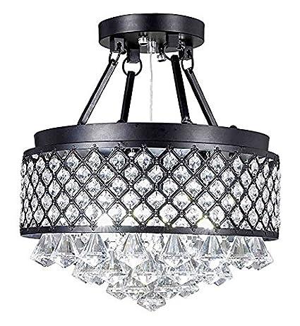Diamond Life 4-light Antique Black Round Metal Shade Crystal ...