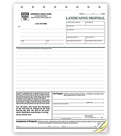 Amazon Com Landscape Proposal Proposal Form 5568 By Nebs