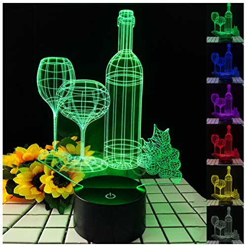 3D Wine Cup Bottle Night Light Optical Illusion Touch Battery Operated Desk Lamps 7 Color Changing Lights for Bars, Cafes, Clubs