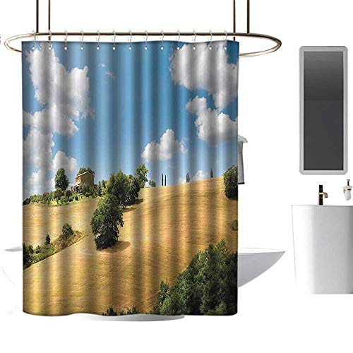 shower curtains burgundy and brown Apartment Decor Collection,Relaxing Landscape of Tuscany Rural Area Summer Day Hillside Trees Crop Scenery Image,Blue Green ,W108