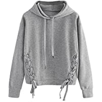 Hemlock Sport Pullover Sweater Top, Women Girl Drawstring Hoodie Sweatshirt Jumper Coat (S, Grey-4)