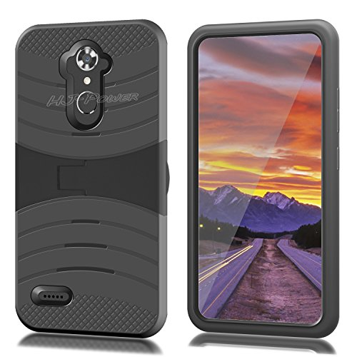 ZTE N9560 Case, HJ Power[TM] For ZTE Max XL N9560/ZMax Pro Z981/Blade X Max Z983/Max Blue/Blade Max 3 Z986 (Virgin Mobile, Boost Mobile)--RUGGED Hard Rubber w V Stand Case Black (Window Phones For Boost Mobile)