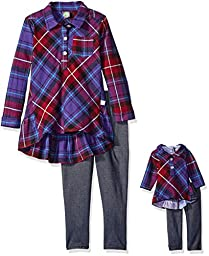 Dollie & Me Little Girls\' Plaid Ruffle Tunic with Knit Denim Legging, Blue/Multi, 6X