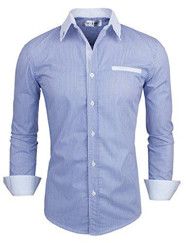 Tom's Ware Mens Classic Vertical Striped Fake Pocket Longsleeve Shirt TWCMS01-BLUE-US XL