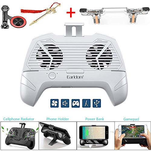 Mobile Game Controller Radiator 5 in 1 Sensitive Shoot and Aim Keys and Mobile Game Cooler Controller, Dual Cool Fans USB Desktop Stand Lazy Bracket for iOS or Andorid