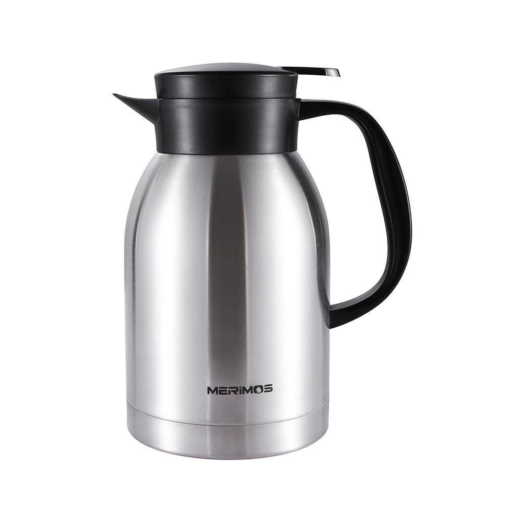 Merimos Coffee Carafe,68 Oz Double Wall Vacuum Insulated Stainless Steel Thermal Carafe for Tea Coffee Fruit Juice, 2 Liter Water Pitcher with Lid (Silver)