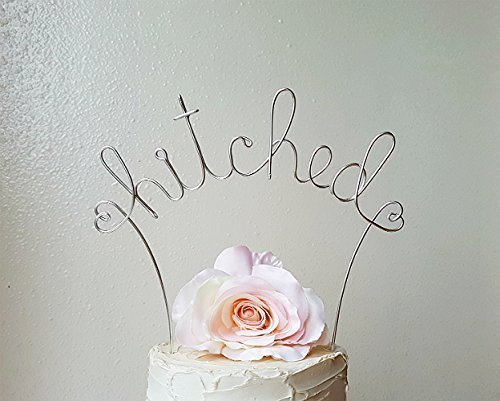 HITCHED Wedding Cake Topper in Silver Finish Special Events Decoration