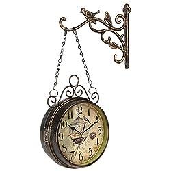 European Retro Bird Double-Sided Clock Mute Creative Double-Sided Wall Clock cast Iron Iron Clock