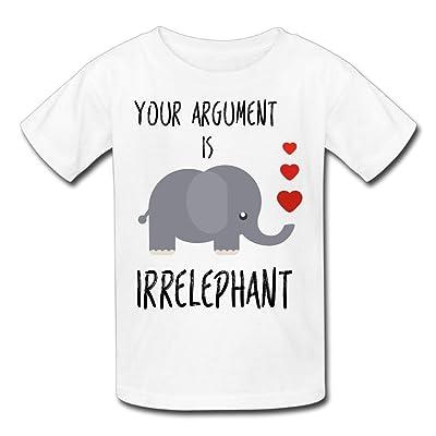 Hailin Tattoo Boys Girls Tshirt Your Argument Is Irrelephant Big Tall Short-Sleeve T-Shirt Fashion Couple Tees