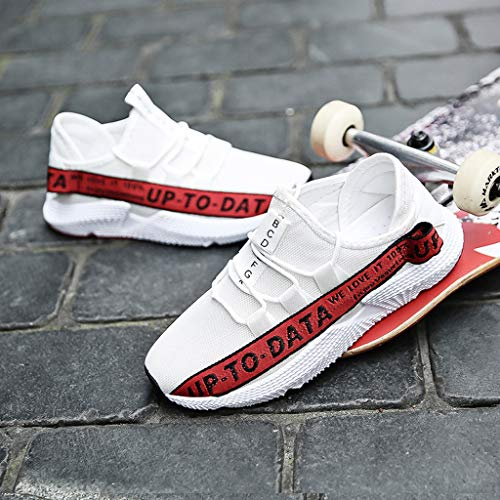 Men's Casual Letter Printing Increased Shoes Wild Fashion Sports Shoes Mesh Breathable Sports Shoes Red by Lloopyting (Image #7)