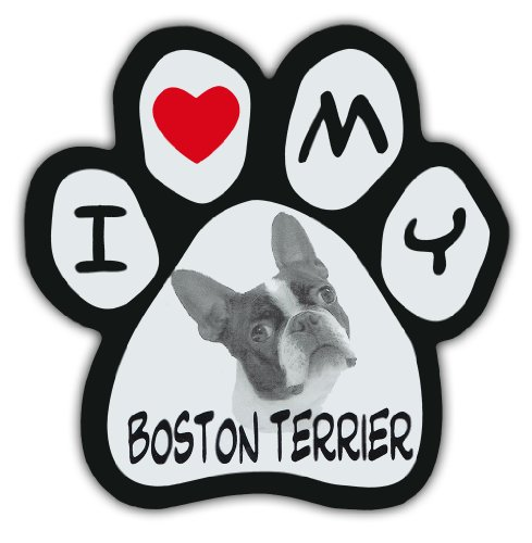 (Picture Paws | Dog Paw Shaped Magnets: I LOVE MY BOSTON TERRIER | Car Magnet)