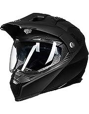 ILM Off Road Motorcycle Dual Sport Helmet Full Face Sun Visor Dirt Bike ATV Motocross DOT Approved (L, Matte Black)