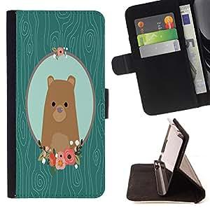Super Marley Shop - Funda de piel cubierta de la carpeta Foilo con cierre magn¨¦tico FOR Samsung Galaxy A3 a3000- Bear Cartoon