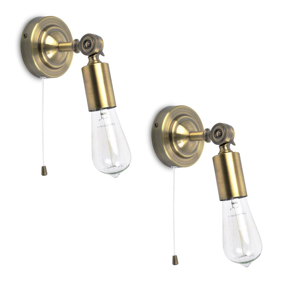 amazon uk bathroom wall lights. pair of - vintage steampunk industrial design antique brassed effect pull cord switch adjustable knuckle joint wall lights: amazon.co.uk: lighting amazon uk bathroom lights