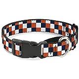 Buckle-Down Checker Navy/Orange/White Martingale Dog Collar, 1.5'' Wide-Fits 16-23'' Neck-Medium