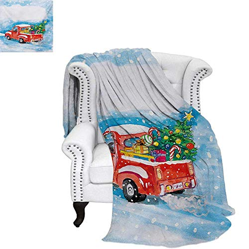 warmfamily Christmas Summer Quilt Comforter Vintage Red Truck in Snowy Winter Scene with Tree and Gifts Candy Cane Kids Digital Printing Blanket 60