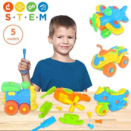 Take Apart Toys (pack of 5), STEM Learning Vehicles Play Set, Builds Problem Solving and Fine Motor Skills For Boys Girls Toddlers Age 3 4 5 6 Years Old   Gift Idea For Engineering, Building Toys