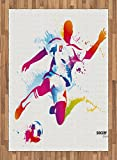 Teen Room Area Rug by Ambesonne, Soccer Proffesional Player Kicks Ball Watercolor Style Spray Championship Image, Flat Woven Accent Rug for Living Room Bedroom Dining Room, 5.2 x 7.5 FT, Multicolor